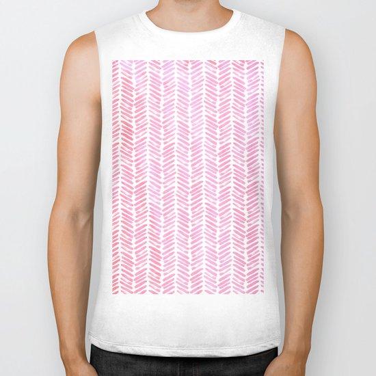 Handpainted Chevron pattern-small- pink watercolor on white Biker Tank