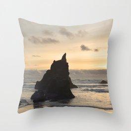 Arcadia Beach Sunset Lion Rock Oregon Coast Pacific Ocean Throw Pillow