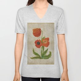 Vintage painting - Bunch of poppies Poppy Flower floral Unisex V-Neck