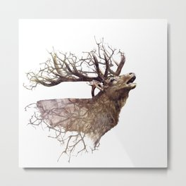 Elk head on white background with double exposure effect Metal Print