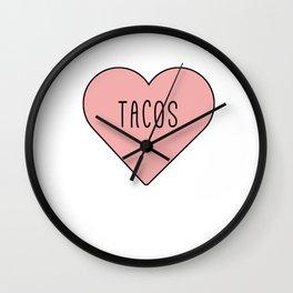 I Love Tacos Heart - Pink Girly Romance Wall Clock