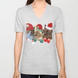 Santa Hats and Kittens | Funny Christmas Kitten Cat Meme Tee Unisex V-Neck