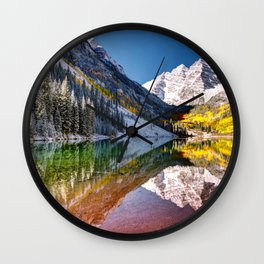 OLena Art Maroon Bells And Maroon Lake Near Aspen Colordo Wall Clock