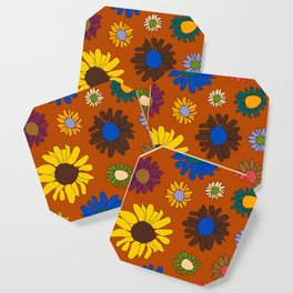 Funky Fall Harvest Floral in Terracotta Rust Coaster