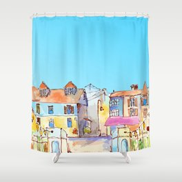 Pretty colorful houses street in old town with blue sky Shower Curtain