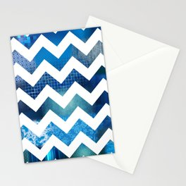 Chevron Blues Stationery Cards