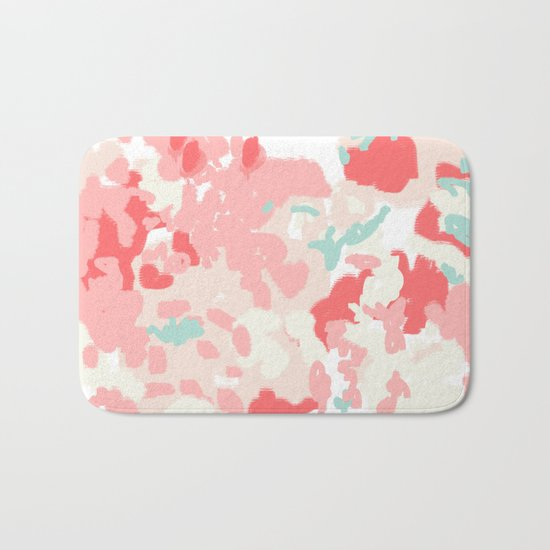 Kelsie - cute abstract minimal pink blush painterly dorm college office trendy decor Bath Mat