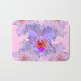 TROPICAL LILAC CATTLEYA ORCHID FLOWERS PINK ART Bath Mat