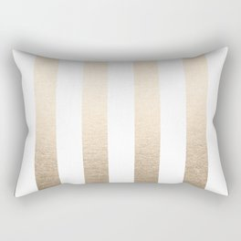Simply Vertical Stripes in White Gold Sands Rectangular Pillow