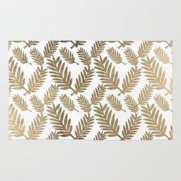 Elegant faux gold foil tropical leaves floral pattern Rug