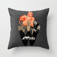 wrestling Throw Pillows featuring Attitude Wrestling  by RJ Artworks