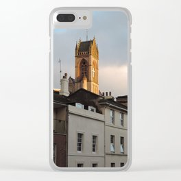 Above the gray Clear iPhone Case
