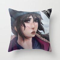 tomb raider Throw Pillows featuring Rise of the Tomb Raider by Massimo Magnago