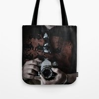photographer Tote Bags featuring photographer by caporilli