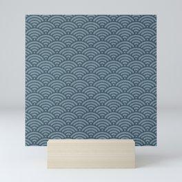 Blue Indigo Denim Seigaiha Sea Wave Nautical Minimalist Spring Summer Mini Art Print