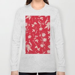 Festive Christmas Bright Red Passion Flowers Long Sleeve T-shirt