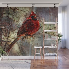 Impressions of a Winter Cardinal Wall Mural
