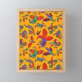 Pattern with Firebirds (on yellow background) Framed Mini Art Print