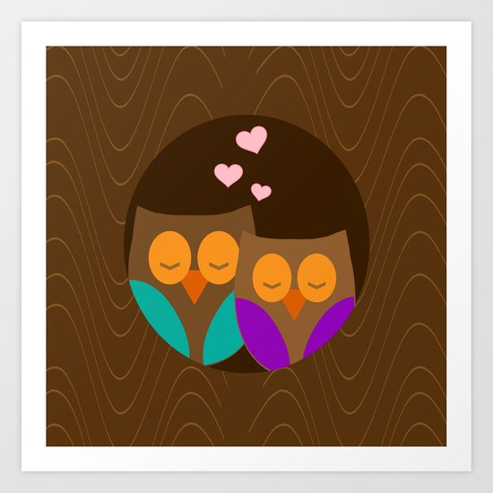 Owls In A Nest Art Print