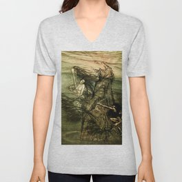 """Alberich Climbs the Rock"" by Arthur Rackham Unisex V-Neck"