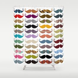 Colorful Mustaches Shower Curtain