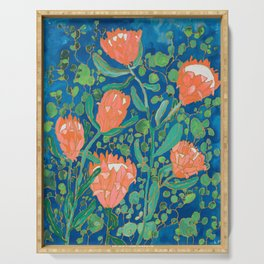 Coral Proteas on Blue Pattern Painting Serving Tray