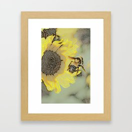 Buzzing the Sunflowers Framed Art Print