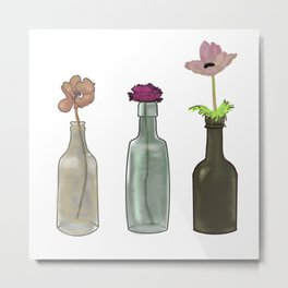 flowers in glass bottles . Pastel colors . illustration . Metal Print