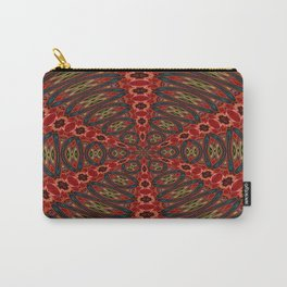Red, Green And Gold Kaleidoscopic Abstract Carry-All Pouch
