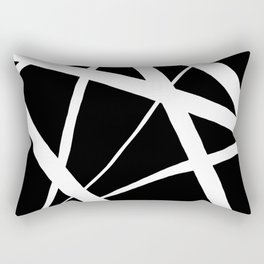 Geometric Line Abstract - Black White Rectangular Pillow