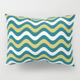 Off White, Dark Yellow and Tropical Dark Teal Inspired by Sherwin Williams 2020 Trending Color Oceanside SW6496 Wavy Horizontal Stripe Line Pattern Pillow Sham