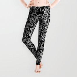 Mandala Project 212   White Bohemian Lace on Black Leggings