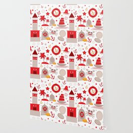 pattern with sea icons on white background. Seamless pattern. Red and gray Wallpaper
