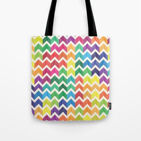 Watercolor Chevron Pattern IV Tote Bag