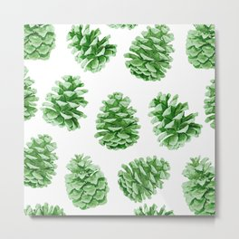 Minty Green Pine Cones Metal Print