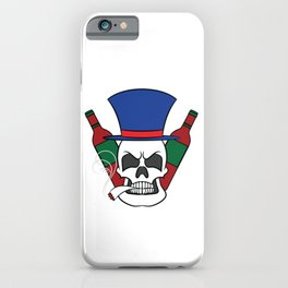 A illustration of a unique Smoking Skull with Alcohol Wine Whiskey Tequila Cocktail Smoker iPhone Case