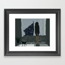 the girl at the window Framed Art Print