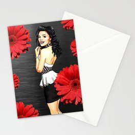 Retro Pinup Girl & Red Flowers Metallic Background Stationery Cards
