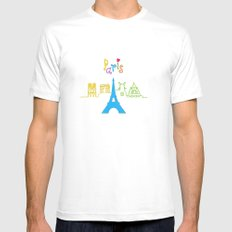 I love Paris White SMALL Mens Fitted Tee