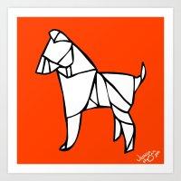 Origami Dog [Origami Series] Art Print