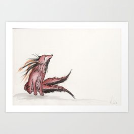 Tetrad the blood moon fox. Art Print