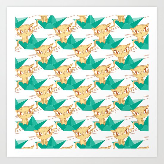 Pea Green boat Pattern Art Print