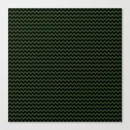 Small Dark Forest Green and Black Chevron Stripes Canvas Print