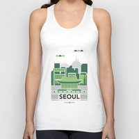seoul Tank Tops featuring City Illustrations (Seoul, South Korea) by Nuthon Design