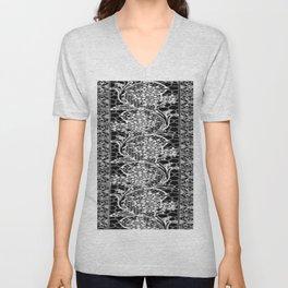 Vintage Lace Black and White Unisex V-Neck