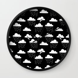 Clouds linocut black and white printmaking pattern black and white Wall Clock
