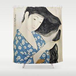 12,000pixel-500dpi - Hashiguchi Goyo - Combing Hair woman Shower Curtain