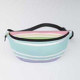 PreppyPatterns™ - Sporty Multi-stripe - peachy pink, sand, pistachio green, robin's egg blue, mist Fanny Pack