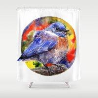 wesley bird Shower Curtains featuring Bird by Anna Shell