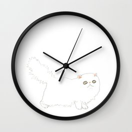 White Persian Cat Wall Clock